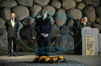 Angela Merkel - Politician,  CDU,  Chancellor of Germany - visiting Israel - wreath laying ceremony at Yad Vashem in Jerusalem,  the National Authority for the Remembrance of the Martyrs and Heroes of th