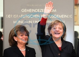 Angela Merkel - Politician,  CDU,  Chancellor of Germany - With the chairwoman of the Central Council of Jews in Germany Charlotte Knobloch in front of the community center of the _Israelitischen Kultus