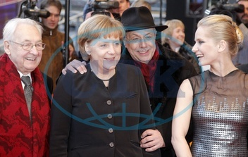 Merkel,  Angela - Politician,  CDU,  Germany,  Federal Chancellor - at the International Berlin Film Festival Berlinale,  from left to right: director Andrzej Wajda,  A.M.,  Dieter Kosslick and actress Magda