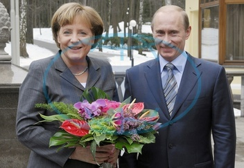 Angela Merkel - Politician,  CDU,  Chancellor of Germany - and Russia's president Vladimr Putin in Novo Ogaryovo - 08.03.2008  For-commercial-use-please-contact-ullstein-bild!