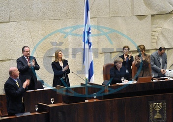 Angela Merkel - Politician,  CDU,  Chancellor of Germany - addressing the Knesset in Jerusalem during her official visit to Israel,  right Dalia Itzik,  chairman of the Knesset. - 18.03.2008