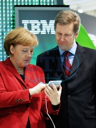 Merkel,  Angela - Politician,  CDU,  Chancellor of Germany - and Christian Wulff,  Prime Minister of Lower Saxony at the CeBIT in Hanover - 04.03.2008  For-commercial-use-please-contact-ullstein-bild!