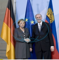 Angela Merkel - Politician,  CDU,  Chancellor of Germany - and Otmar Hasler,  prime minister of Liechtenstein in Berlin,  press conference about the tax evasion scandal - 20.02.2008