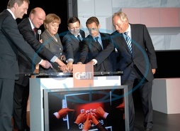 Merkel,  Angela - Politician,  CDU,  Chancellor of Germany - opening of CeBIT in Hanover,  from left to right: Christian Wulff,  Steve Ballmer,  A.M.,  Jose Manuel Barroso,  Nicolas Sarkozy,  and August-Wilhe