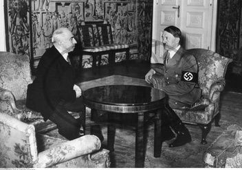 ADOLF HITLER (1889-1945). Chancellor of Germany,  1933-45. Hitler meeting in Berlin with Dr. Emil Hácha,  President of Czechoslovakia,  and forcing Hacha to allow Nazi Germany to annex Bohemia and Morav