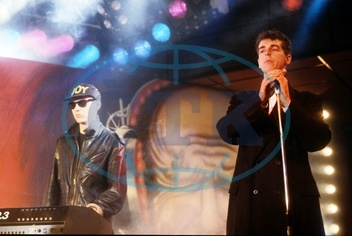 Pet Shop Boys - Band,  Pop music,  UK - Chris Lowe (l.) and Neil Tennant performing - 1986  Editorial-use-only!
