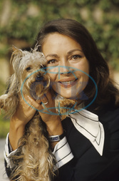 Dor,  Karin - Actress,  Germany - portrait with dog - 1974
