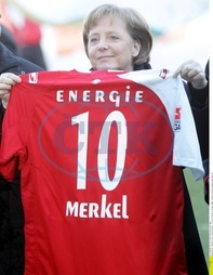 Angela Merkel - Politician,  CDU,  Chancellor of Germany - with a trikot of the FC Energie Cottbus,  she is honorary member of this football club - 16.02.2008
