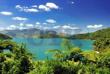 Marlborough Sounds,  moře,  hory