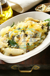 vertical, laurel, dish, food, fish, portuguese, codfish, stockfish, baccalŕ, traditional, typical, baccalao, caper