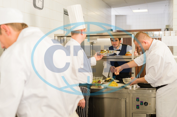 Adult, Business, Busy, Caucasian, Chef, Commercial, Delicatessen, Equipment, Food, Indoors, Industry, Lunch, Male, Mature, Meal, Men, Occupation, Plate, Restaurant, Serving, Silver, Spice, Team, Teamwork, Working, apron, cante