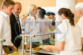 Adult, Buffet, Business, Businessman, Businesswoman, Cafeteria, Caucasian, Food, Formalwear, Healthy, Indoors, Lifestyle, Lunch, Male, Mature, Meal, Office, Plate, Ready-To-Eat, Serving, Smiling, Variation, Well-dressed, br