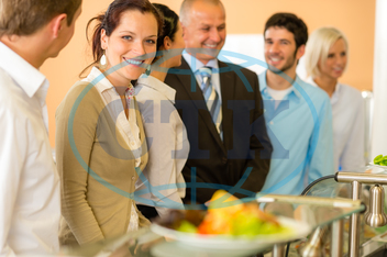 Adult, Buffet, Business, Businessman, Businesswoman, Cafeteria, Caucasian, Food, Formalwear, Healthy, Indoors, Lifestyle, Lunch, Male, Mature, Meal, Office, Plate, Ready-To-Eat, Restaurant, Smiling, Variation, Well-dressed