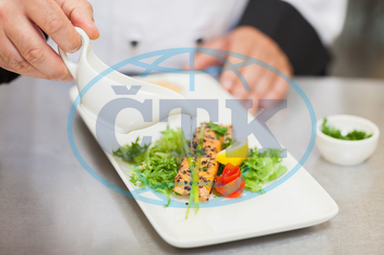 Part Of, Indoors, Background, Food, Chef, Cooking, Cuisine, Culinary, Delicious, Dish, Food, Gourmet, Job, Kitchen, Profession, Professional, Restaurant, Uniform, Plate, Chef's Whites, Counter, Standing, Station, Sauce, Salm