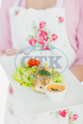 20s, Young Adult, Woman, Female, Caucasian, Close-up, Apron, Casual, Lifestyle, Maid, Holding, Standing, Plate, Food, Healthy, Healthy Eating, Meal, Dish, Homemade, Bowl, Floral Pattern, Serving, Offering, Housewife