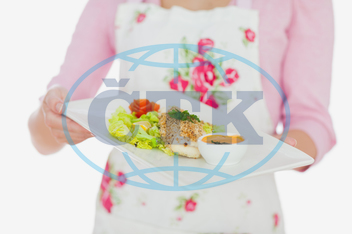 20s, Young Adult, Woman, Female, Caucasian, White Background, Isolated, Close-up, Casual, Lifestyle, Maid, Holding, Standing, Plate, Food, Healthy, Healthy Eating, Meal, Dish, Homemade, Bowl, Floral Pattern, Housewife
