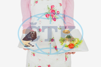20s, Young Adult, Woman, Female, Caucasian, White Background, Isolated, Apron, Casual, Lifestyle, Maid, Holding, Standing, Plate, Food, Healthy, Healthy Eating, Meal, Dish, Homemade, Bowl, Floral Pattern, Pastry, Unhealthy,