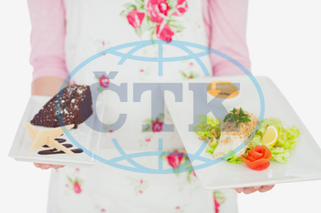 20s, Young Adult, Woman, Female, Caucasian, White Background, Isolated, Close-up, Apron, Casual, Lifestyle, Maid, Holding, Standing, Plate, Food, Healthy, Healthy Eating, Meal, Dish, Homemade, Bowl, Floral Pattern, Pastry, U