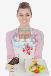 20s, Young Adult, Woman, Female, Caucasian, White Background, Looking At Camera, Isolated, Casual, Lifestyle, Maid, Holding, Standing, Plate, Food, Healthy, Healthy Eating, Meal, Dish, Homemade, Bowl, Floral Pattern, Pastr