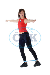 Woman,  sport with Theraband