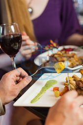 20s, Young Adult, Woman, Female, Caucasian, Man, Male, Indoors, Close-up, Sophisticated, Classy, Restaurant, Red Wine, Alcohol, Wine Glass, Meal, Dinner, Fine Dining, Food, Dish, Meat, Potato, Eating, Cookery, Main Course, Cu