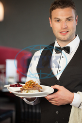 20s, Young Adult, Man, Male, Caucasian, Indoors, Looking At Camera, Cookery, Main Course, Cuisine, Culinary, Dinner, Dish, Food, Fruit, Jam, Chutney, Sauce, Condiment, Gourmet, Hot, Meal, Plate, Restaurant, Taste, Vegetables,
