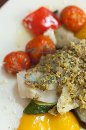 Indoors, Restaurant, Catering, Cuisine, Culinary, Dinner, Dish, Food, Fresh, Hotel, Ingredient, Lunch, Meal, Plate, Vegetable, Fish, Breadcrumbs, Sauce, Tomato, Yellow Pepper, Courgette, Mediterranean Food, Gourmet