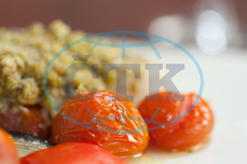 Indoors, Restaurant, Catering, Cuisine, Culinary, Dinner, Dish, Food, Fresh, Hotel, Ingredient, Lunch, Meal, Plate, Vegetable, Fish, Breadcrumbs, Tomato, Mediterranean Food, Gourmet, Cherry Tomato