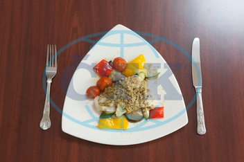 Indoors, Restaurant, Catering, Cuisine, Culinary, Dinner, Dish, Food, Fresh, Hotel, Ingredient, Lunch, Meal, Plate, Table, Vegetable, Fish, Pesto, Sauce, Tomato, Yellow Pepper, Courgette, Cutlery, Fork, Knife, Mediterranean F
