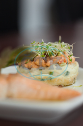 Indoors, Restaurant, Catering, Cuisine, Culinary, Dinner, Dish, Food, Fresh, Hotel, Ingredient, Lunch, Meal, Plate, Salmon, Fish, Asparagus, Healthy, Hot, Tasty, Gourmet, Potato Cake, Watercress, Sauce