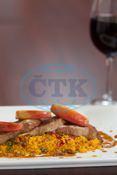 Indoors, Close-up, Restaurant, Catering, Cuisine, Culinary, Dinner, Dish, Food, Fresh, Hotel, Ingredient, Lunch, Meal, Plate, Couscous, Meat, Duck Breast, Sauce, Hot, Tasty, Delicious, Gourmet, Apple, Slice, Wine Glass
