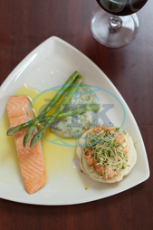 Indoors, Restaurant, Catering, Cuisine, Culinary, Dinner, Dish, Food, Fresh, Hotel, Ingredient, Lunch, Meal, Plate, Salmon, Fish, Asparagus, Healthy, Hot, Tasty, Gourmet, Butter, Potato Cake, Watercress, Knife, Fork, Cutlery, R