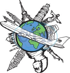 Digital, Digitally Generated, Computer Graphic, Doodle, Earth, Global, International, World Wide, Map, Cityscape, Urban, City, Skyscraper, Building, Airplane, Plane, Flying, Flight, Aviation, Travel, Tourism