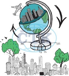 Digital, Digitally Generated, Computer Graphic, Doodle, Earth, Global, International, World Wide, Map, Airplane, Plane, Flying, Flight, Aviation, Travel, Tourism, Cityscape, Urban, City, Skyscraper, Building