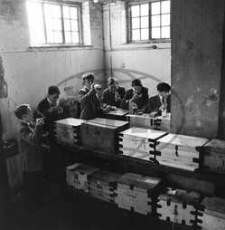 Pupils with tuck boxes,  Marlborough School