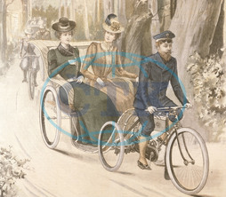 Two women in cycle-drawn carriage