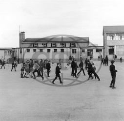 Pupils in secondary school playground,  Wales