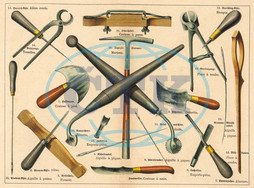 Tools used by a saddler and upholsterer