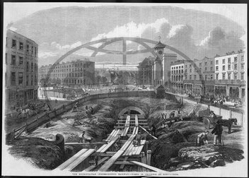 Building underground railway near Kings Cross,  London