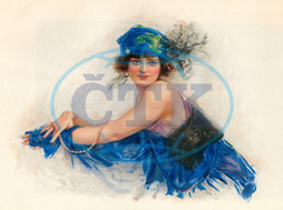 Woman wearing blue headscarf with plumes 1920s