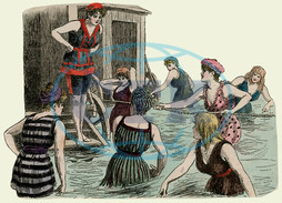 Bathing machines and women paddling at the beach