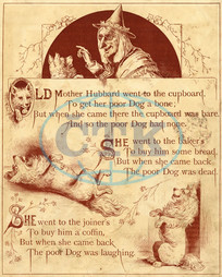 Old Mother Hubbard: went to the cupboard