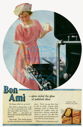 Advert for Bon Ami metal cleaning powder