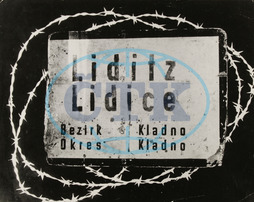 Second World War 1939-1945. Place name sign of Lidice (Lidice / Central Bohemia) after the assassination of Reinhard Heydrich the Nazis destroyed the village and killed its inhabitants. 10th June of 1