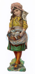 GIRL WITH KITTENS 19C