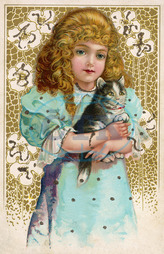 GIRL AND CAT/GERMAN CARD
