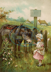 GIRL FEEDS DONKEY C1890