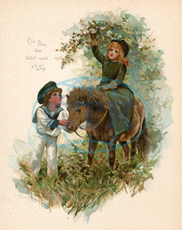 CHILDREN WITH PONY 1890