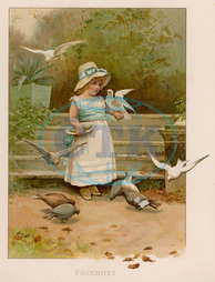 GIRL WITH BIRDS C1885