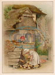 GIRL FEEDS POULTRY 1891